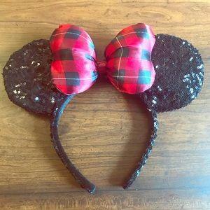 Disney Accessories - Disney Parks Red Plaid Black Sequin Mouse Ears